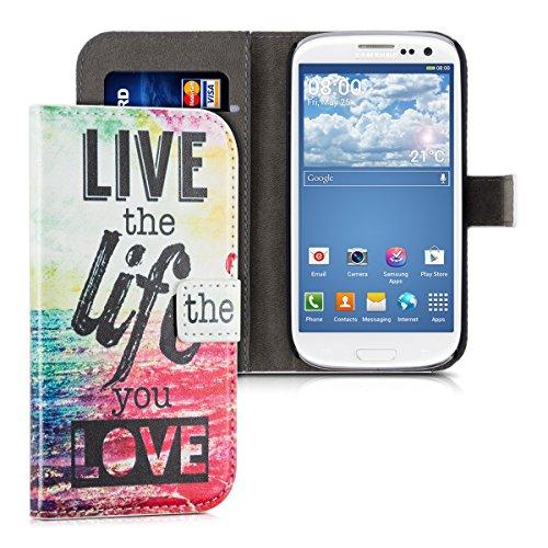 kwmobile Wallet case Custodia a portafoglio per Samsung Galaxy S3 / S3 Neo - Custodia flip cover in Design Live the Life con scompartimento tessere e funzione supporto in multicolore fucsia blu