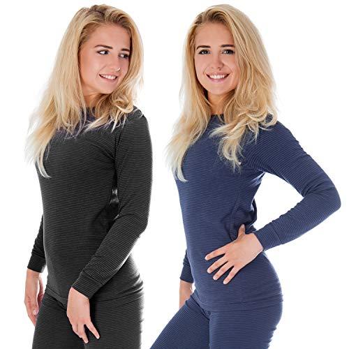 Damen Thermounterwäsche   langarm Unterhemd   Thermounterhemd 2-er Set mit Ringelmuster - Jeans/Anthrazit - 48/50