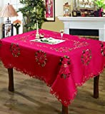 Editex Home Curtain Holiday Themed Tablecloth, 60 by 120-Inch, Poinsettia