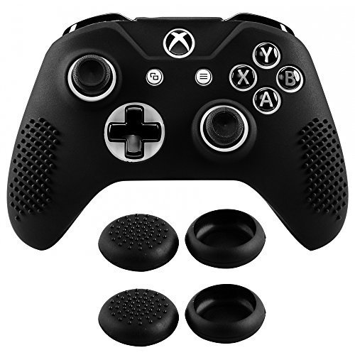 eXtremeRate® Antideslizante Suave Silicone Case Cover Thumb Stick Grip Caps Protector Skins para Microsoft Xbox One S Controller Black