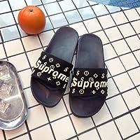 fankou Zapatillas Cool Verano Grueso Femenino Adorable Familia casa Dormitorio de la Plana con Suaves, Zapatillas de Baño Antideslizante,37-38, Inglés Black