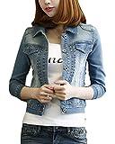 Damen Schlank Freizeit Jacke Jeansjacke Vintage 3/4 Ärmel Kurz Jeans Mantel Hell Blau XXXL
