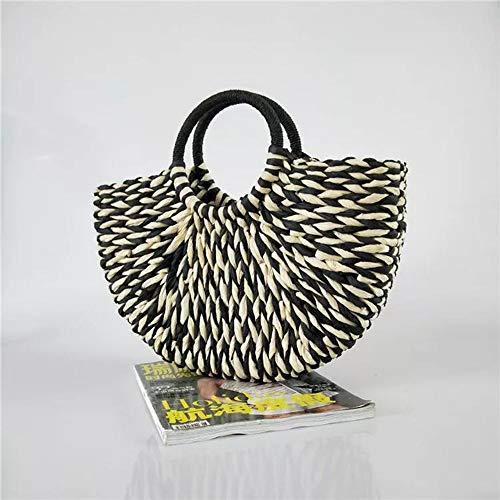 ZYXB Neue Frauen-runde Wannen-Halbkreis-Stroh-Beutel-handgemachte Nettofarbe gesponnene Korb-Rattan-Handtasche,A1 - Wanne-geschenk-korb