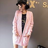 &zhou Torsione rosa sciolto in autunno e in inverno di spessore cappotto dell