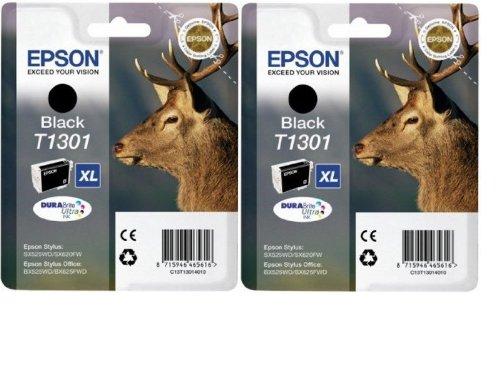 Epson T1301x2 - Pack 2 x cartuchos de tinta, color negro