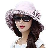SIGGI rosa Baumwolle Sommerhut UPF 50 + Sun Shade Strand Hut für Damen Sonnenhüte breite Krempe
