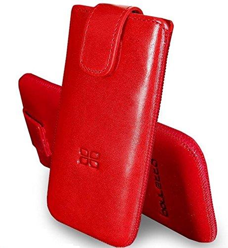 Bouletta® Sony Xperia P Hülle Leder Case Tasche Ledertasche Schutzhülle Etui Handytasche, Mit Klettverschluss, Rausziehlasche, 100% Passgenau, MultiCase Duzz Rot