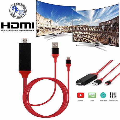 Scenic 2m 8Pin Lightning auf HDMI TV AV Adapter Kabel für Android iPad iPhone 6S 7Plus (Tech Und Go Mobile Power)