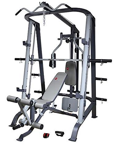 AsVIVA MS2 Profi Kraftstation und Power Multipresse - Multi-Gym Weight Bench mit Latzug, Beinpresse, Beincurl und verstellbare Schrägbank effektives Muskeltraining, Krafttraining, Hantelbank für zu