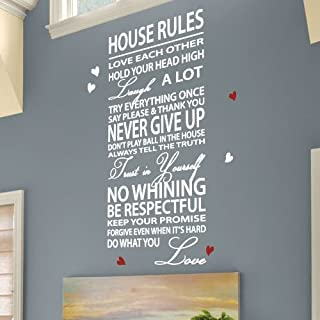 Medium House Rules Family Love Heart Art Wall Stickers Quotes Wall Decals Wall Decoration-Black