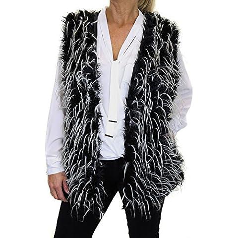 ICE (5143-1) Vest Faux Fur e Piume di Struzzo Nero - Faux Struzzo