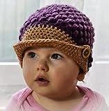 #8: Love Crochet Art baby cap hat Baby Kids Girl Boy Winter Crochet Cap Hat - Blue Golden (6 to 12 Months)