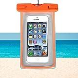 RUHRBASIS Smartphone Handy Outdoor Beach Bag Tasche Schutzhülle Wasserfest für Strand Reise Urlaub Schutz Nässe Staub Schmutz Sand für Motorola | Lenovo Moto | G3 | G4 | G5 | Plus - transparent orange