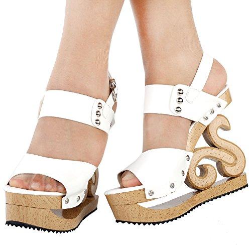 Voir l'établissement histoire Sexy Slingback goujon en bois Look cales plate-forme sabots sandales, LF30831 Blanc
