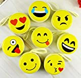 #3: 2 Pcs INFInxt Yellow Smiley/Emoji Coin Pouch Round Zipper Organiser Earphone Case Headphones Cable & Wire Storage Box.