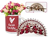Best gift for Valentine, Valentine Gift for Wife, Valentine special gift for Her Peacock Shaped Hair Clip and Valentine's Special Coffee Mug with Bunc best price on Amazon @ Rs. 699