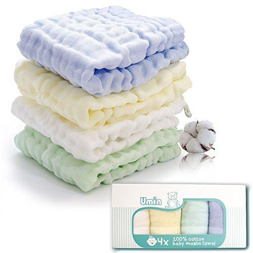 Umiin Baby-Waschlappen, Super weich natürlich Musselin Baumwolle Baby Bad Waschlappen, perfekte Baby-Geschenke, 30 x 30 cm, 4er-Set (Hypoallergen Waschmittel)