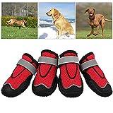 TOOGOO Hund Wanderschuhe, Pfoten Schutz Set 4 Hunde Schuhe, Atmungsaktiv Pfote Hund Stiefel Zum Wandern, Gehen Anti-Rutsch Sohle 5#