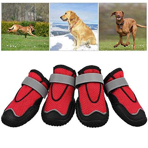 Nrpfell Hund Wanderschuhe, Pfoten Schutz Set 4 Hunde Schuhe, Atmungsaktiv Pfote Hund Stiefel Zum Wandern, Gehen Anti-Rutsch Sohle 6#