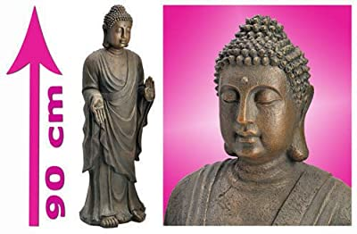 Evre Standing Buddha Statue for Home & Garden w/ Resin Stone Effect - 90cm XXL