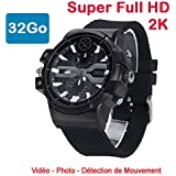 Cyber Express Electronics - montre mini caméra espion 32 Go 2K Super Full HD 2304 x 1296p Détection de Mouvement CEL-DWF-74-32