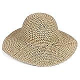 Butterme femmes dames large bord chapeau de paille Pliable Disquette Chapeau plage chapeau de paille