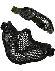 Máscara de Malla de Media Cara con Gafas Protectora Metálica para la Caza, Cosplay, Juegos de CS, Airsoft Máscara de Malla con Gafas al Aire Libre ( Color : Negro )