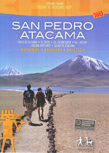 San Pedro de Atacama 1:50.000 / 350.000 imperméable carte de randonnée du Chili