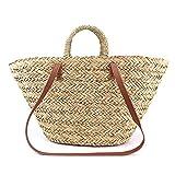 ACMEDE Damen Strandtasche Stroh Einkaufstasche Einkaufskorb mit Leder Schultergurten und Griffen...