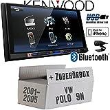 VW Polo 9N - Kenwood DMX100BT - 2DIN Bluetooth | USB | MP3 | 7' TFT Autoradio - Einbauset