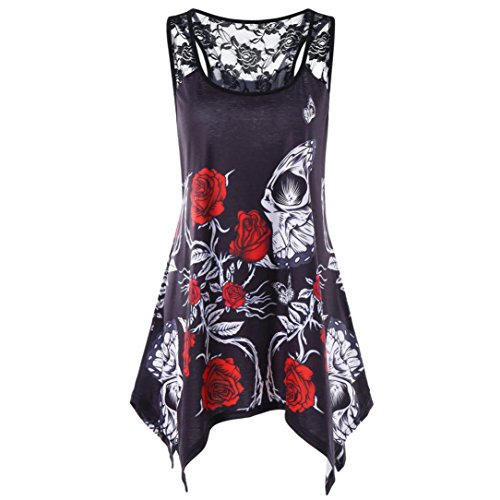 QUINTRA Summer Womens Casual Plus Size Floral Lace Insert Tank Top Blouse XL-5XL