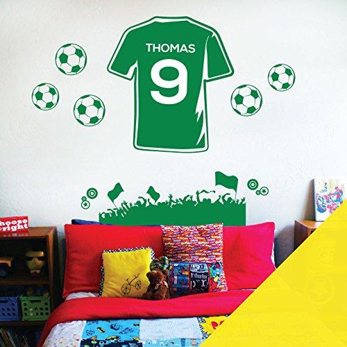 8050983b2cb Personalised Name Boys Wall Art Sticker - Football Fan T-Shirt Soccer Theme  - Customize