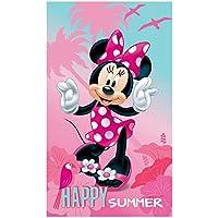 Disney Minnie Happy Drap de Plage, Coton, Rose, 120x70 cm