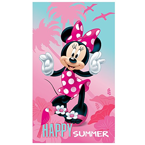 Disney Minnie Happy Drap de Plage 100% Coton, Rose, 120x70 cm