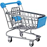 NF&E Kids Children Pretend Play Mini Shopping Entertainment Fun Cart Trolley Home Room Office Decor Toy Gift Sky Blue