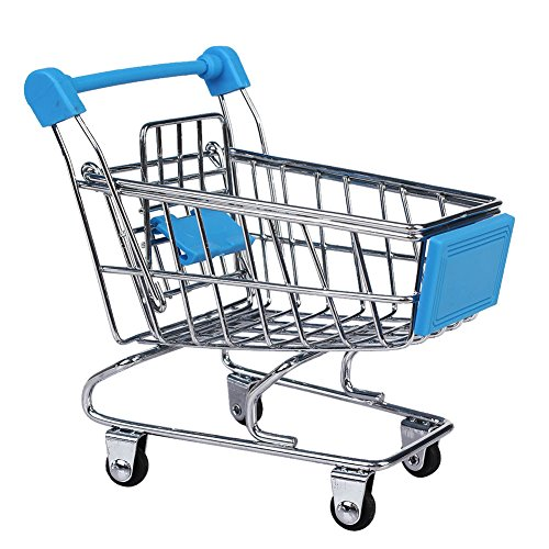NF&E Kids Children Pretend Play Mini Shopping Entertainment Fun Cart Trolley Home Room Office Decor Toy Gift Sky Blue