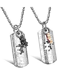 Kim Johanson Pärchen Halsketten für verliebte aus Edelstahl Puzzle Love inkl. Schmuckbeutel