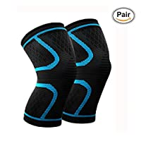 Knee Support (Pair) Beskey Anti Slip Knee Brace Super Elastic Breathable Knee Compression Sleeve Help Joint Pain Relief for Arthritic Sufferer and Recovery from Injuries Fit for Sports