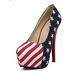 Très Chic Mailanda Abendschuhe Stilettosabsatz Pumps Disko Party Club High Heels mit USA Flagge Fahne Optik (38)