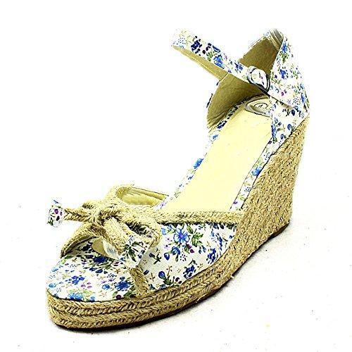sendit4me Dames en Toile Sandales Compensées de Peep Toe en osier bleu floral