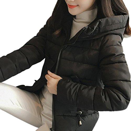 UFACE Damen Winter Parka Warmer Mantel Solide Pelzkragen Kapuzenjacke dicker dünner Winter Parka Mantel (Schwarz-425, XL)