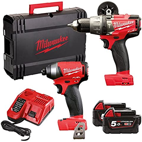Milwaukee m18fpp2a-502X M18Fuel Twin Pack (M18FPD trapano a percussione, M18FID Avvitatore, 2batterie x 5,0Ah, caricabatterie rapido, dynacase) - 18v Cordless Drill Set