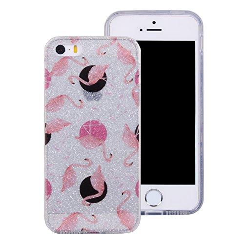 iphone 5 Hülle,Bunt Mandala Muster Design für iphone 5 5s se , E-lush TPU Dünn Transparent Silikon Schutzhülle Kristallklar Durchsichtig Kratzfeste Handyhülle Ultra Chic Thin Weich Tasche Rückschale E flamingo