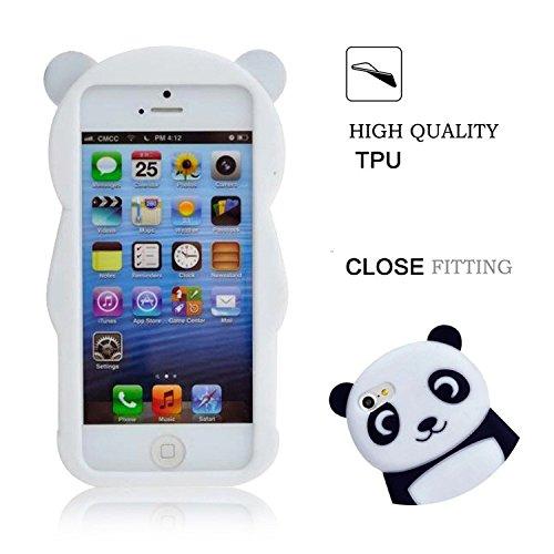 3D Mignon Panda Coque pour iPhone 7 étui de Protection Housse,MingKun iPhone 7 4.7 Pouces Case Cover TPU Silicone Coque Haute qualitie Silicone Confortable Doux au Animé Animal Style Couverture Hull-R Panda-Noir