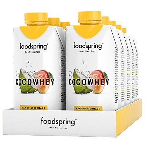 Kokosnuss-wasser Kalorienarme (foodspring CocoWhey mit Mango, 12x330ml, Erfrischender Protein-Drink mit Kokoswasser, Hergestellt in Deutschland mit sorgfältig ausgewählten Rohstoffen)
