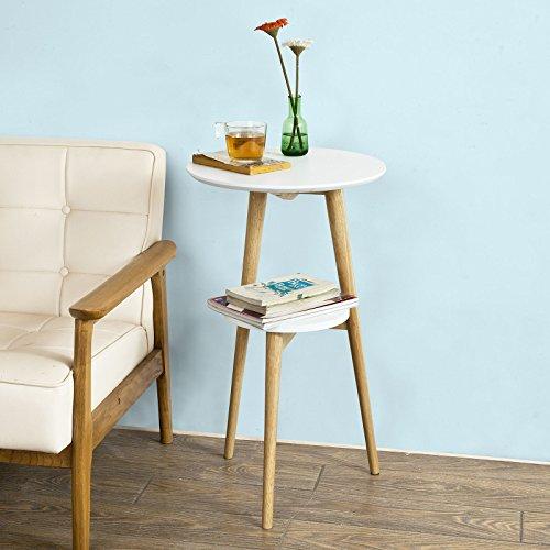 SoBuy® Design Beistelltisch mit 2 Tischplatten, Couchtisch, Kaffeetisch, Balkontisch, weiß, FBT39-W