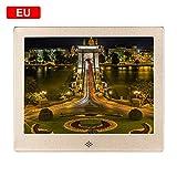 Hifuture Cornice Fotografica Digitale da 8 Pollici in Metallo, 4: 3 1024 X 768 Risoluzione Schermo LED Supporto SD Card Calendario Fotografico Digitale (32 GB), Gold, EU