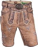 Almwerk Herren Trachten Lederhose kurz Modell Ludwig mit Gürtel in braun, hellbraun und dunkelbraun