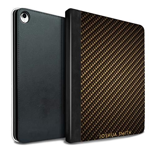 eSwish Personalisiert Kohlenstoff-Faser Muster PU-Leder Hülle für iPad Pro 10.5 (2017) / Gold Stempel Design/Initiale/Name/Text Tablet Schutzhülle/Tasche/Etui (Kohlenstoff-faser-buchstaben)