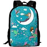 best& Vintage Mermaid Lullaby College Laptop Backpack Student School Bookbag Rucksack Travel Daypack